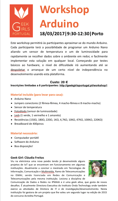 Workshop Arduino @ Porto